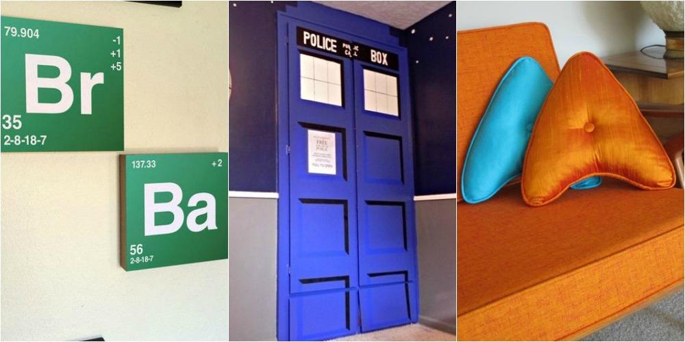 As séries de TV Breaking Bad, Doctor Who e Star Trrek (que tem também versão para o cinema) são temas de decorações